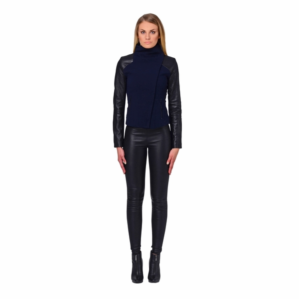 LAMARQUE EMMA Leather and Crepe Turtleneck Jacket