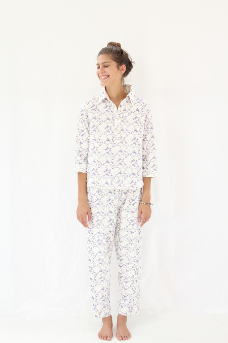 Lina Rennell Organic Cotton Flannel Pajama Set / Grape Lace