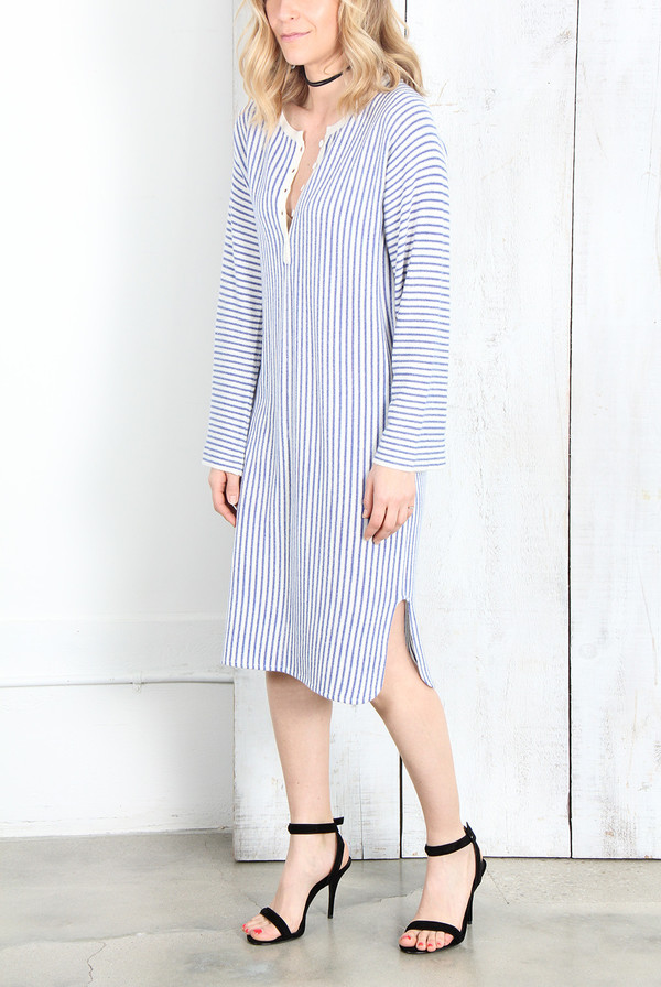 Raquel Allegra IVORY BLUE STRIPE CASHMERE HENLEY TUNIC DRESS