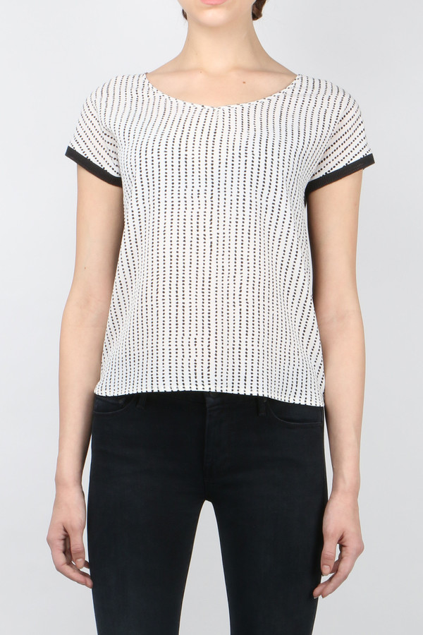 sita murt Polka Dot Scoop V-Neck Blouse