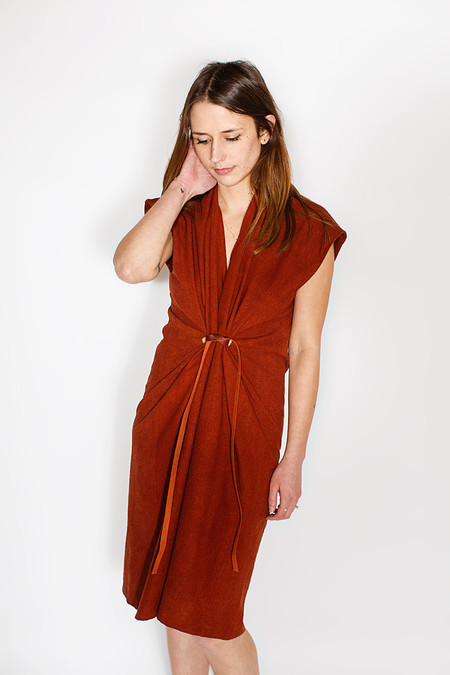 Miranda Bennett Tempest Dress  Silk Noil in Rust