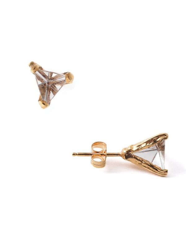 Unearthened 18K Gold + Quarts Prism Studs