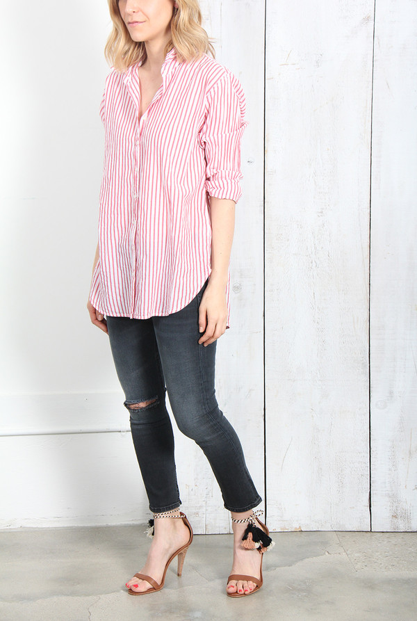 XIRENA BEAU BUTTON DOWN SHIRT IN RED STRIPE