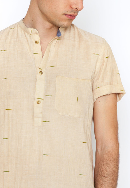 Lalbagh Popover Shirt with Green Dobby Weave
