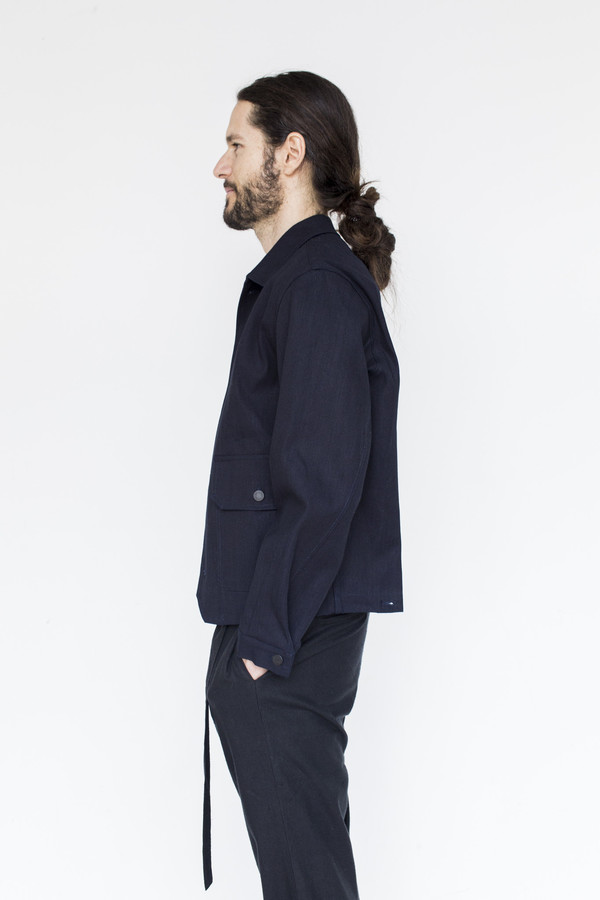 Men's Assembly Cotton Button Jacket - Indigo