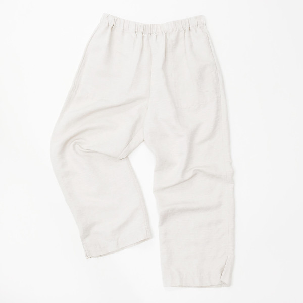 Light Beige Silk + Linen Easy Pant