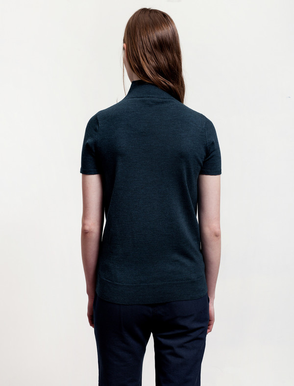Sunspel Merino Short Sleeve Funnel Neck