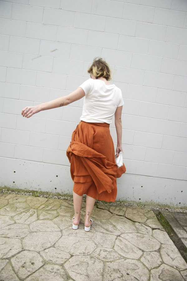 Black Crane Linen Wrap Skirt