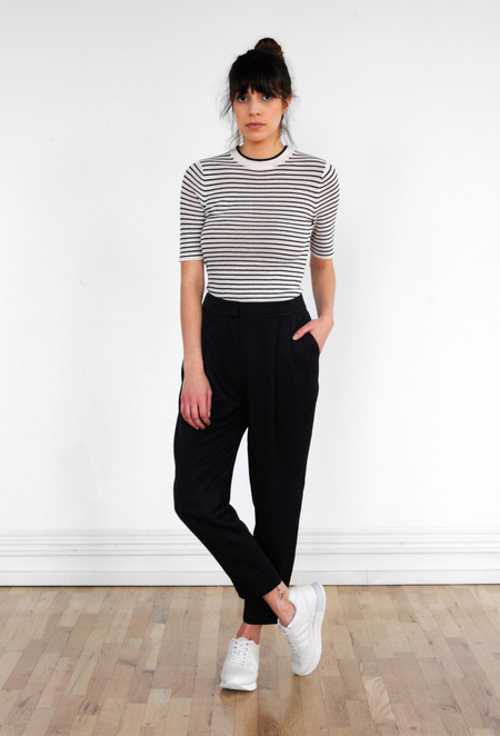 Waltz Double Pleat Trouser in Black