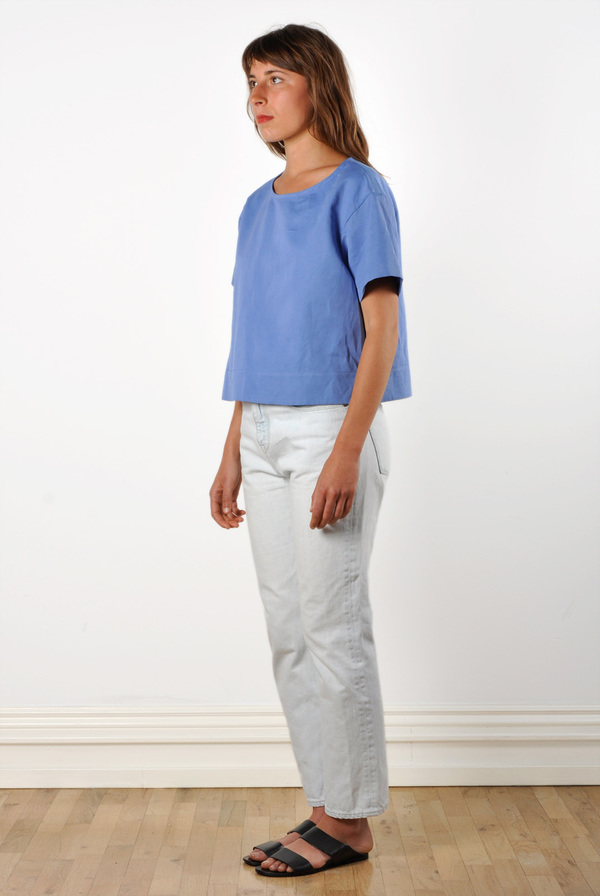 Waltz Drop Shoulder T-shirt in Cornflower Linen/Cotton Twill