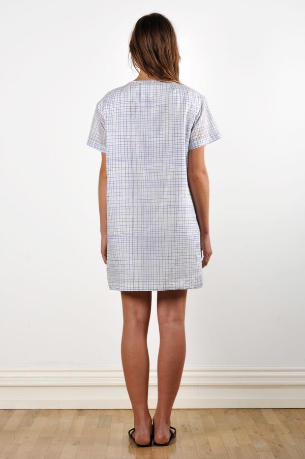 WaltzDrop Shoulder T-shirt Dress in Grid Print Cotton/Silk Voile