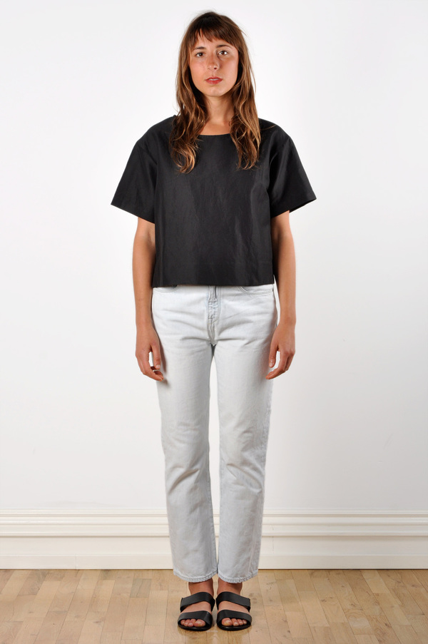 Waltz Drop Shoulder T-shirt in Black Linen/Cotton Twill