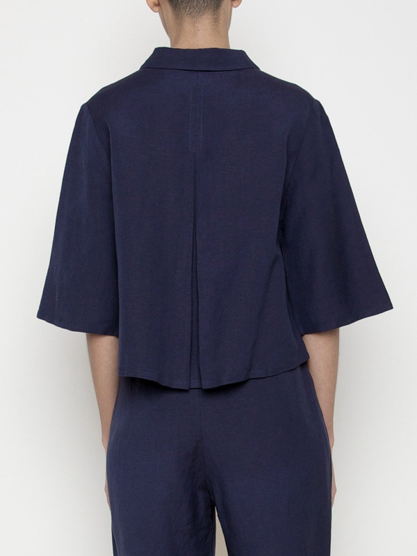 7115 by Szeki Back Pleated Button Up- Navy SS16