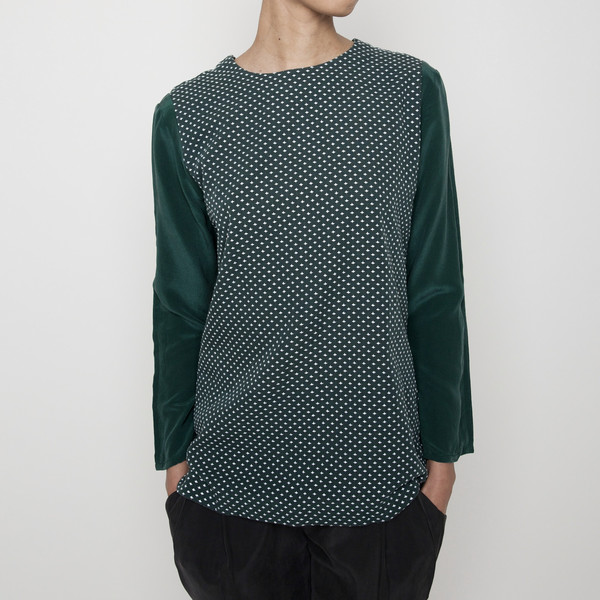 7115 by Szeki Cross-stitch long sleeves top - Green