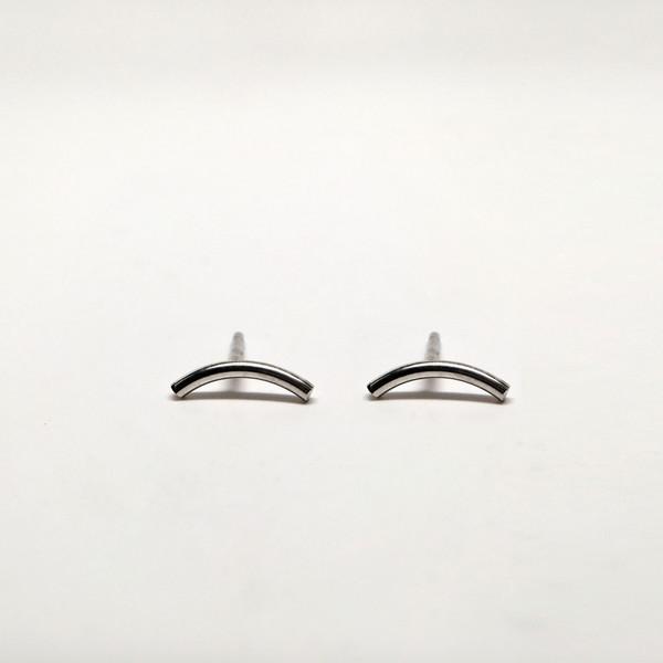 7115 by Szeki Curve Bar Stud Earrings - Sliver