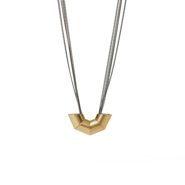 7115 by Szeki Quad Multi-Brass Chain Necklace
