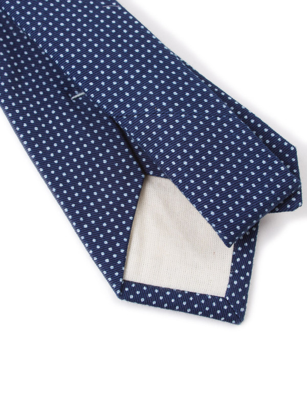 The Hill-Side Standard Pointed Tie Indigo Wabash Polka Dot