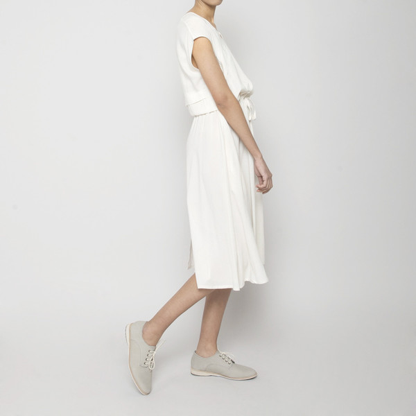 7115 by Szeki Folded V-Neck Drawstring Dress