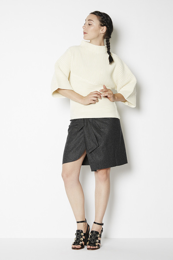J.O.A. Textured Bell Sleeve Sweater