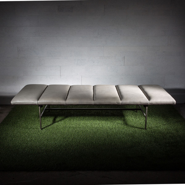 Rider For Life Leather and Steel Bench
