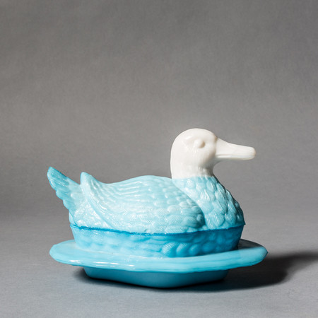 Rider For Life Milk Glass Blue Duck