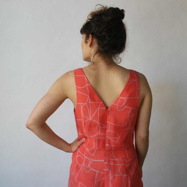 Dusen Dusen V Neck Dress in Blockhead Red Print