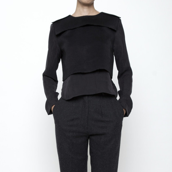 7115 by Szeki Wool Vest Long Sleeve Top FW15 - Black