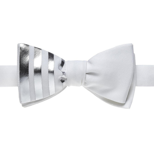 BOSIE New York White Bow Tie With Vertical Silver Stripes