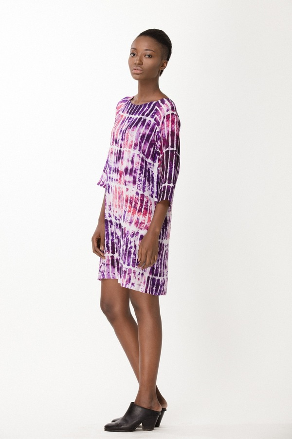 Osei-Duro Linter Dress in Fuchsia Chalk