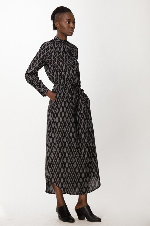 Osei-Duro Casta Dress in B&W Ikat