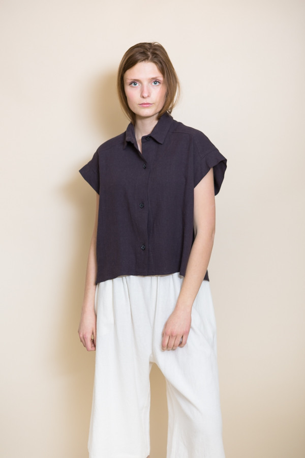 Micaela Greg Pieced Sleeve Button Up / Black