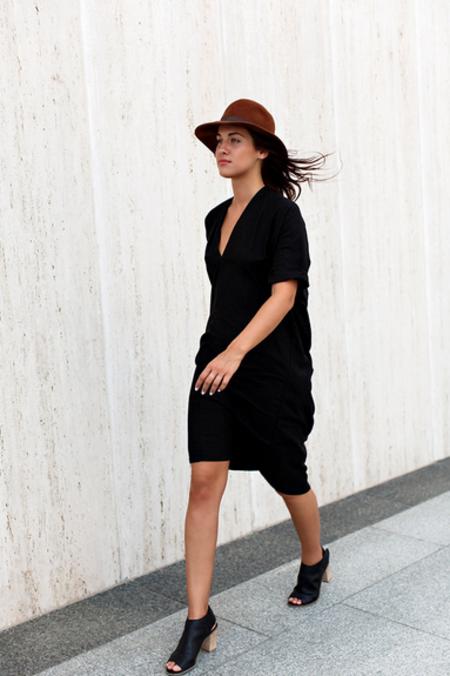 Miranda Bennett Muse Dress, Silk Noil in Black