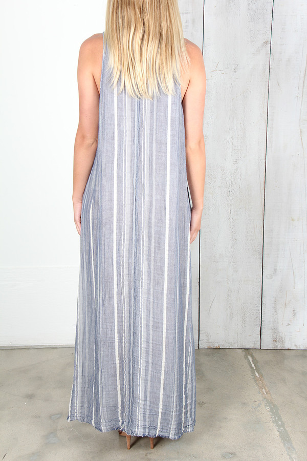 RAQUEL ALLEGRA BLUE STRIPE GAUZE TANK DRESS