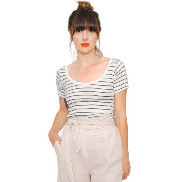 Curator Maisie Tee Blue/Grey Stripes