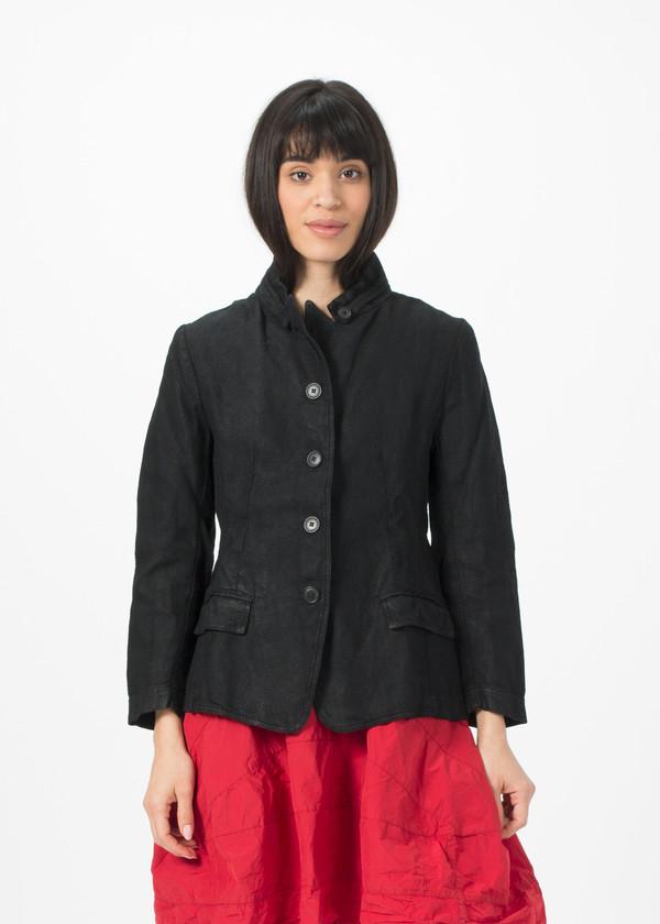Rundholz Dip Woven Linen Blend Jacket - Black