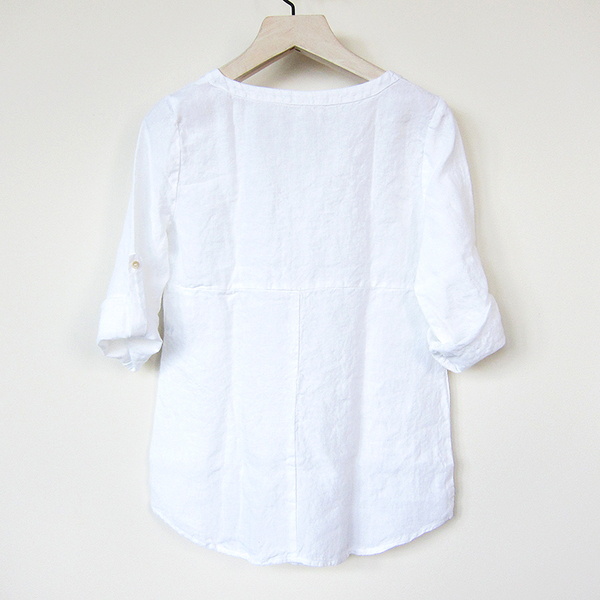 Nuthatch washed linen tab tunic - white