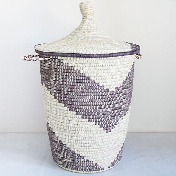 Rose & Fitzgerald Oversized Palm Arrow Basket, grey/natural