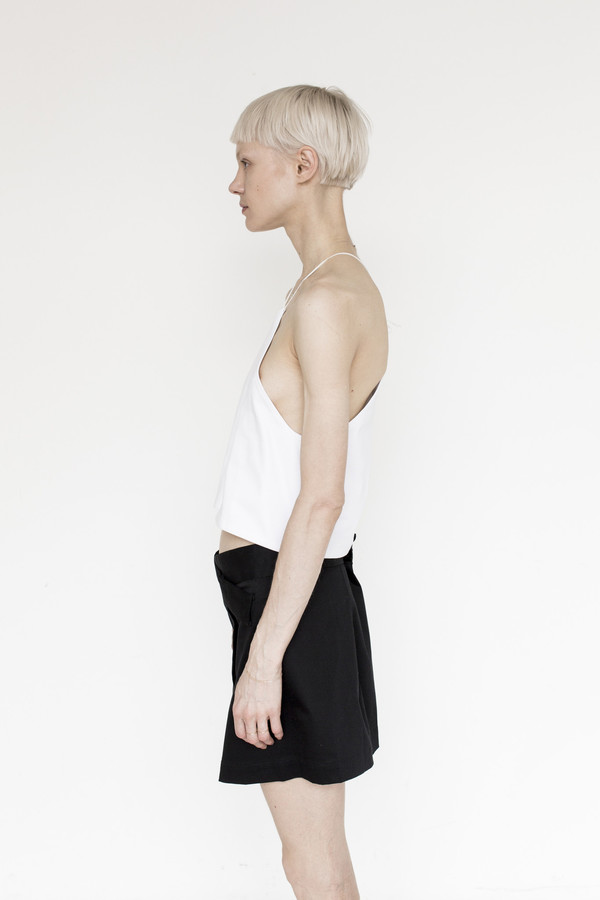 Index Cotton Halter Top - White