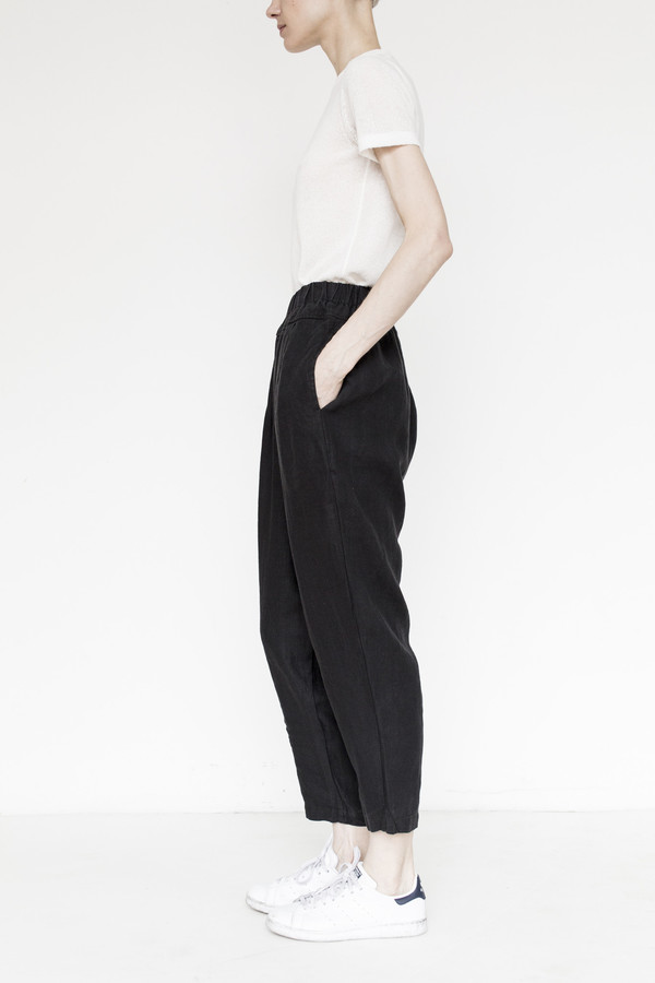 Black Crane Linen Carpenter Pant - Black