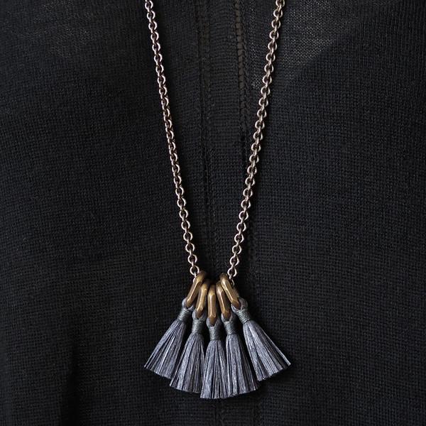 boet charcoal silk tassel necklace