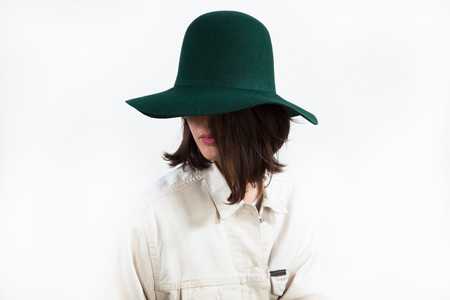 Wide Brim Dome Hat in Loden Wool