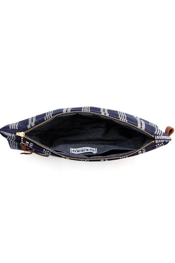 Kiriko Shuri-Ori Leather Clutch Navy Stripe