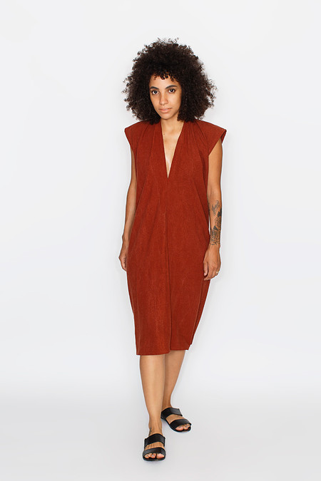 Miranda Bennett Everyday Dress, Silk Noil in Rust