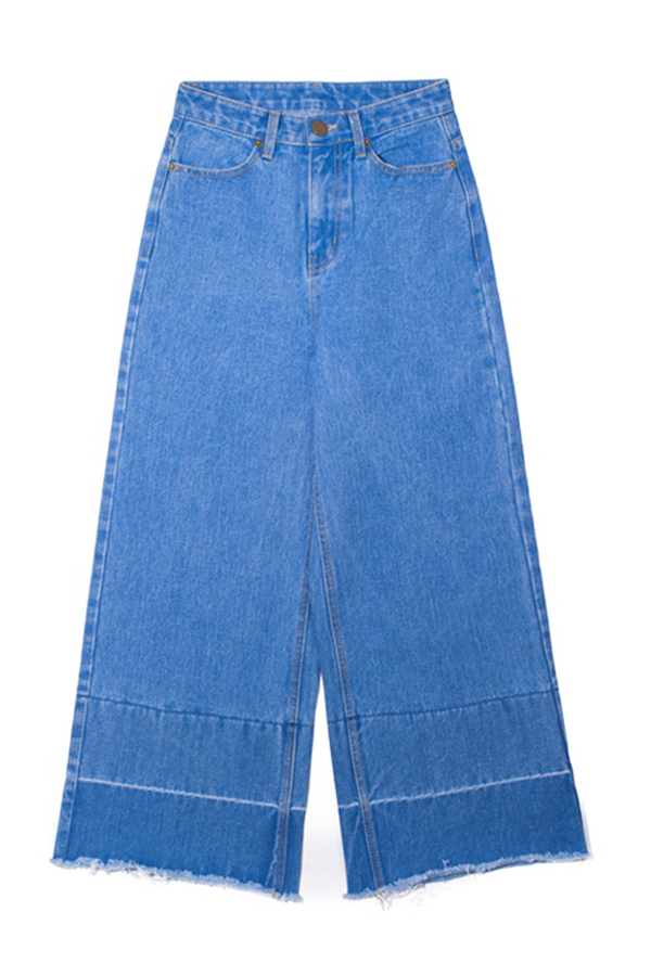 Lookast High Waist Wide Denim Pants- Light Blue