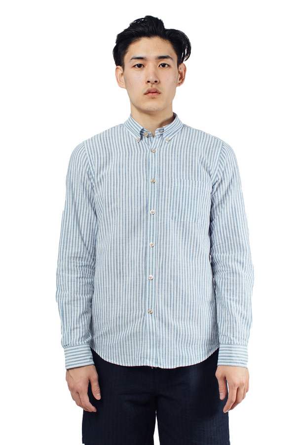 Men's Portuguese Flannel Espiga Buttondown Blue