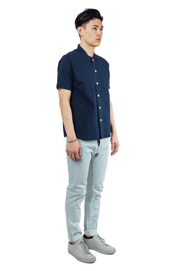 Men's YMC Furies Stitch Stripe Shirt Indigo