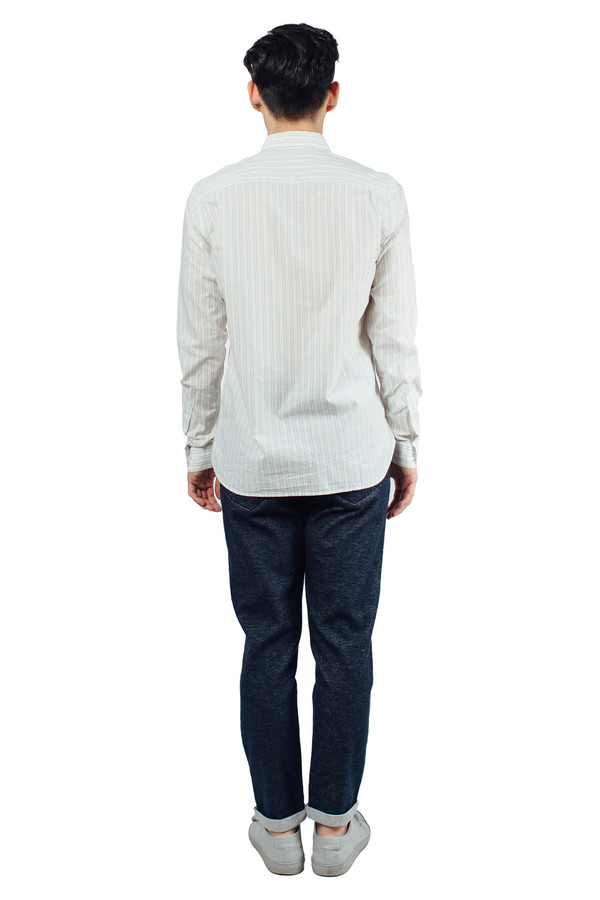 Men's YMC Jan and Dean Double Stripe Shirt Cream
