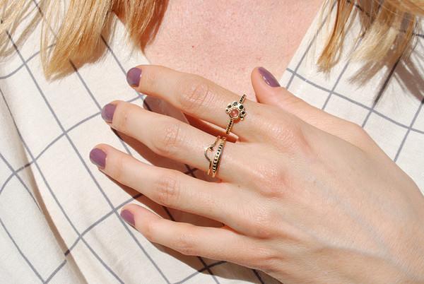 Mociun - Sunstone and Black Diamond Crescent Ring