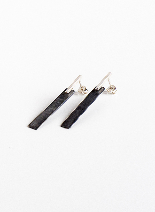 Contour Studio Oxidized  Silver Tile Earrings