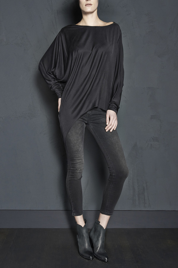 Long Sleeve Silk Jersey Asymmetric Tunic
